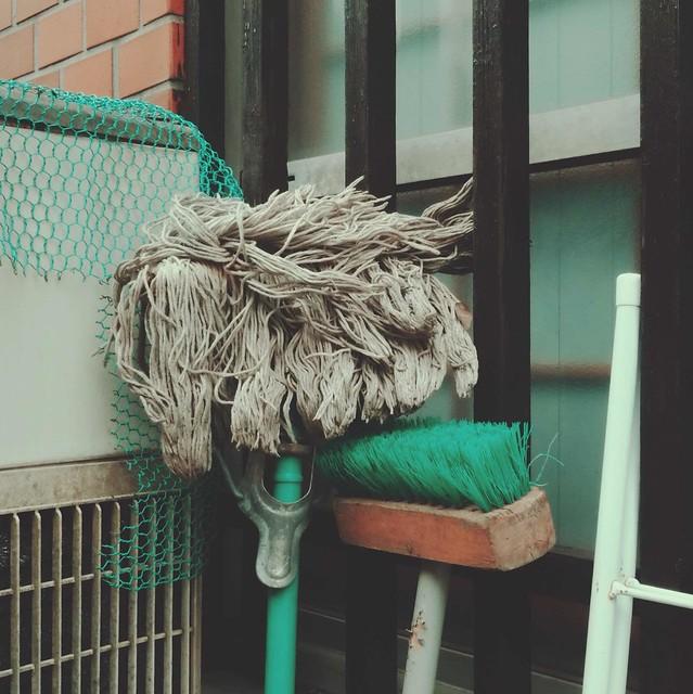 Mop and deck scrub brush