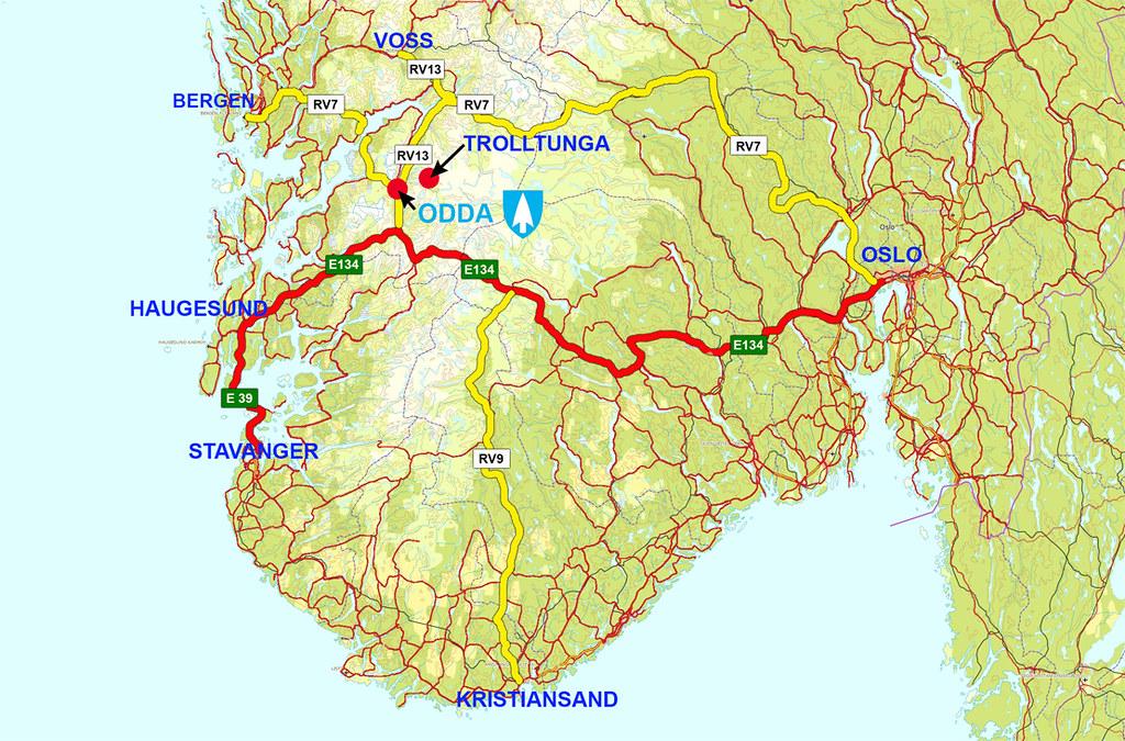kart over odda kart sørnorge 1 | How to find Your way to Trolltunga/Odda | Opplev  kart over odda