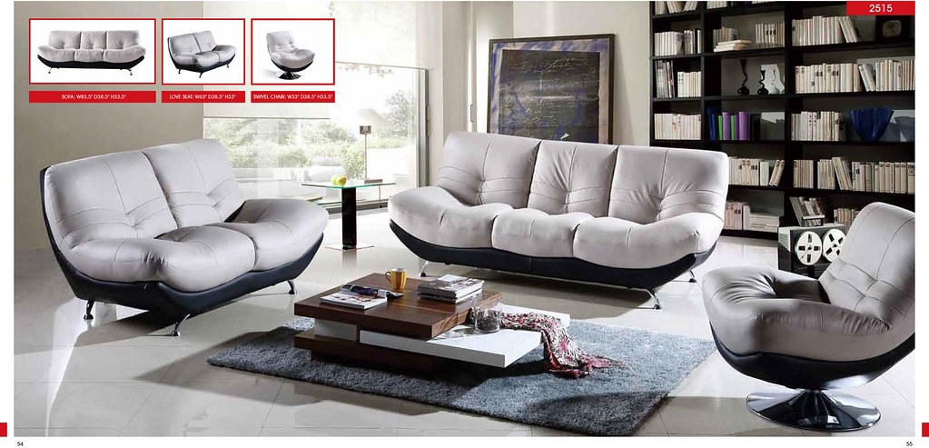White Living Room Furniture Modern Living Sets 2515 with S ...