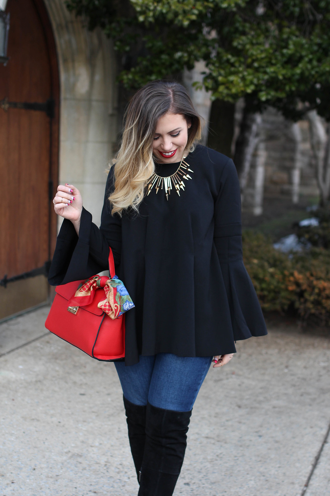 Gold Statement Necklace | Red Handbag | Blonde Ombre Hair
