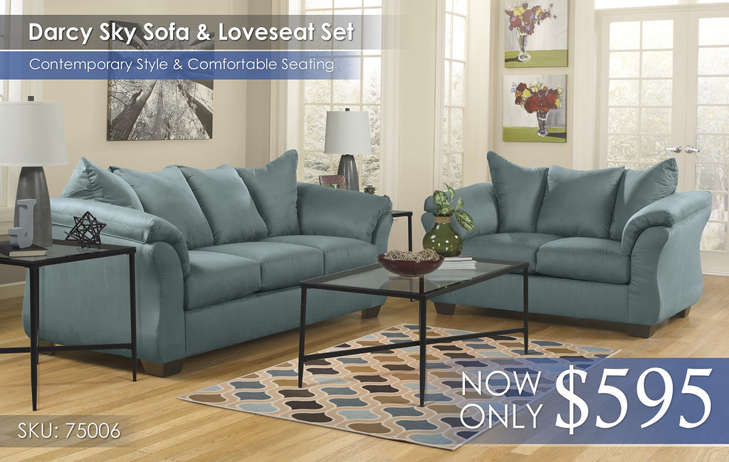 Darcy Sky Sofa & Loveseat Set 75006-38-35-T003