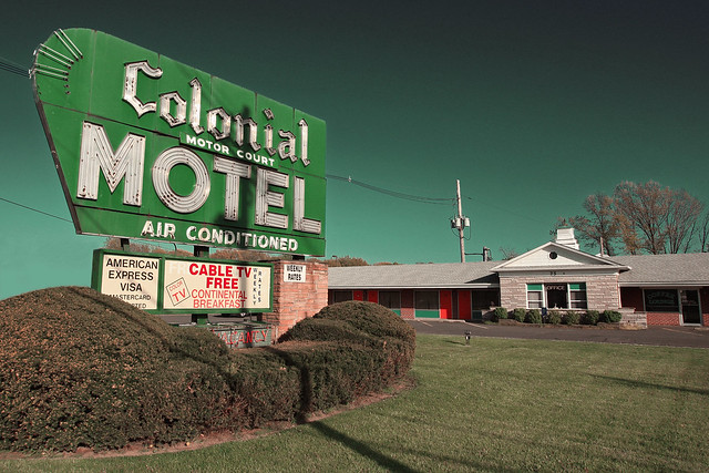 colonial motor court motel springfield nj postcard vi