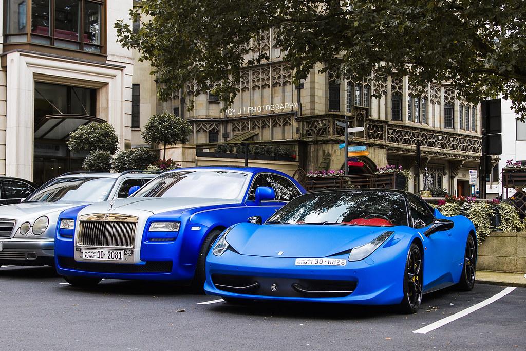 blue and more blue rolls royce ghost and ferrari 458 italia by - Ferrari 458 Italia Blue