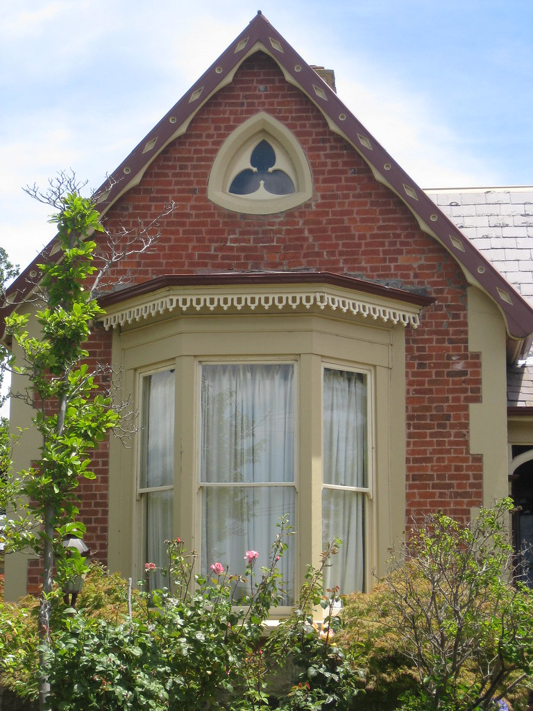 The Bay And Trefoil Window Of Red Brick Victorian Gothic Villa
