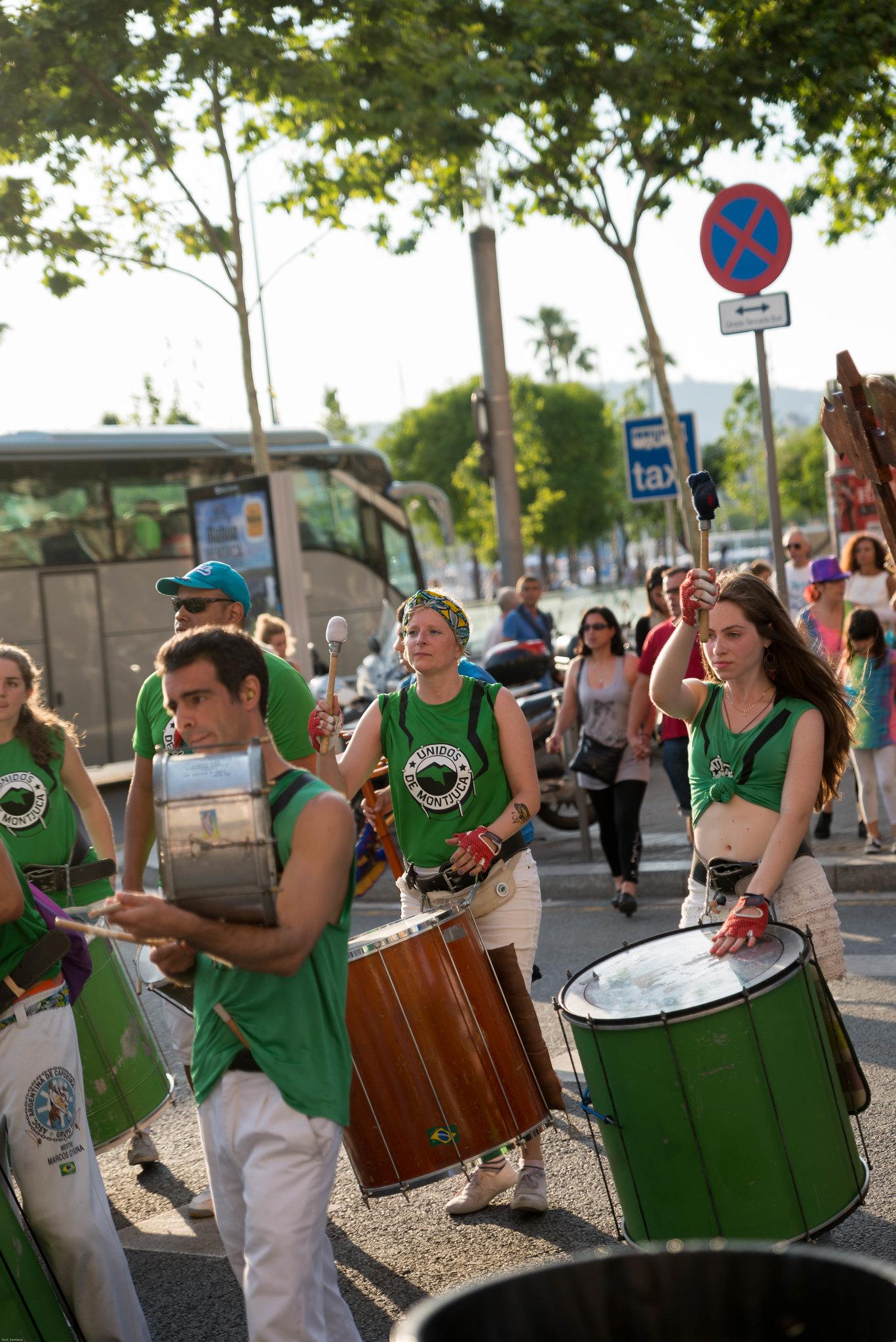 Barcelona spain street parade Drummer girl