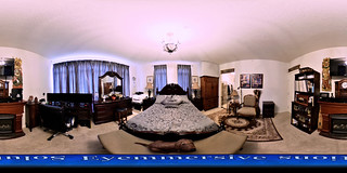 Real estate photography - 360 degrees virtual tour of master bedroom