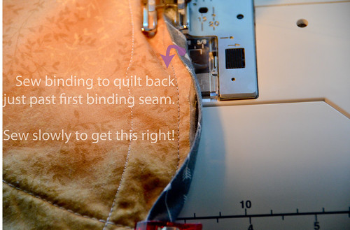 6. Sew binding to quilt back, making sure your second seam is to the left of the first binding seam.