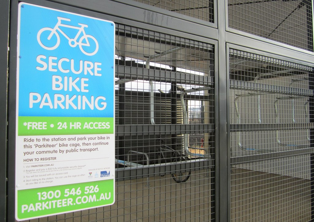 Bike cage at Caroline Springs Station