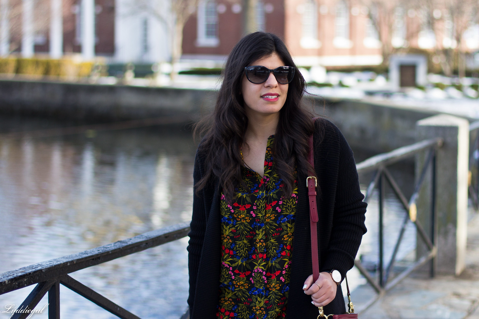 dark floral print blouse, long black cardigan, over the knee boots-6.jpg