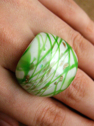 Glass ring. Murano glass - Green and gold | by Lady_Agata