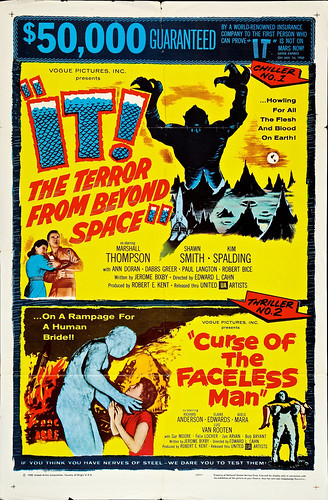 "It! The Terror from Beyond Space/Curse of the Faceless Man Combo (United Artists, 1958). One Sheet (27"" X 41""). 