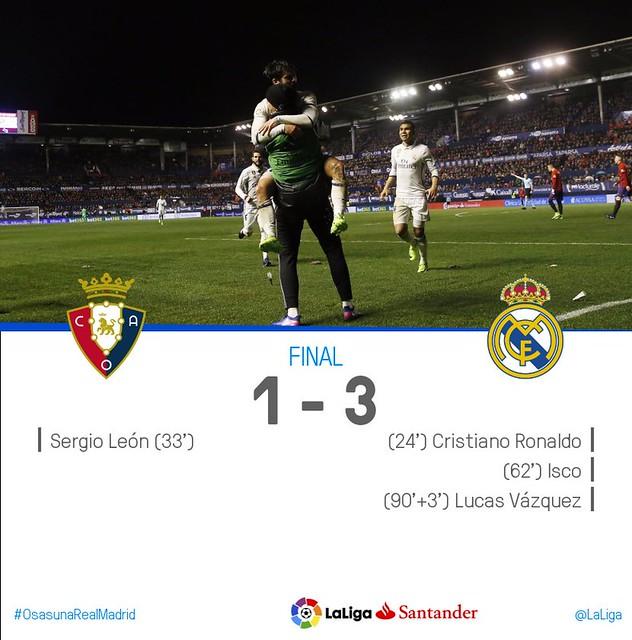 La Liga (Jornada 22): Osasuna 1 - Real Madrid 3