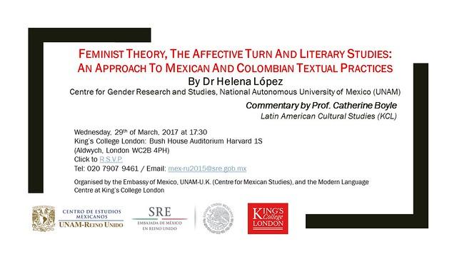Invitación conferencia magistral Helena López género literatura México Colombia KCL 29mar2017 ver5
