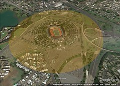 Stadium/Queen's Palace, Honolulu, Hawaii. 1 kilometer diameter