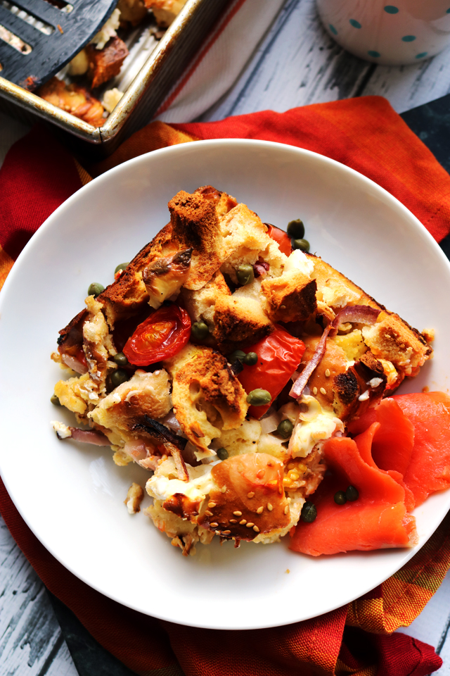 New York Style Bagel Egg And Cream Cheese Breakfast Casserole Joanne Eats Well With Others