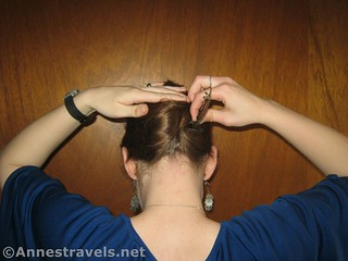 Slide the clip in about halfway up the twisted section to make a French Twist with Ponytail - 12 Pretty & Practical Hiking Hairstyles