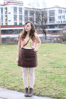 "Sugar Plum Fairy outfit: pink ballet tights, Jeffry Campbell for Free People ""Cast & Crew ankle boots"", vintage suede mini skirt, lace Anthropologie blouse, Phillip Lim for Target crossbody bag, Anthropologie horseshoe ""Lucky Icon"" necklace 