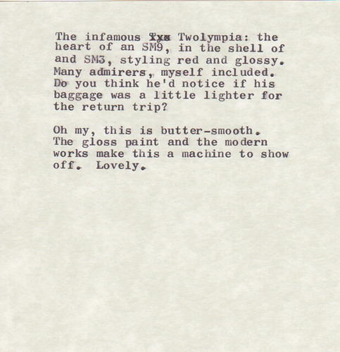 Type Samples from California Typewriter Type-In Dev 27, 2013 | by mpclemens