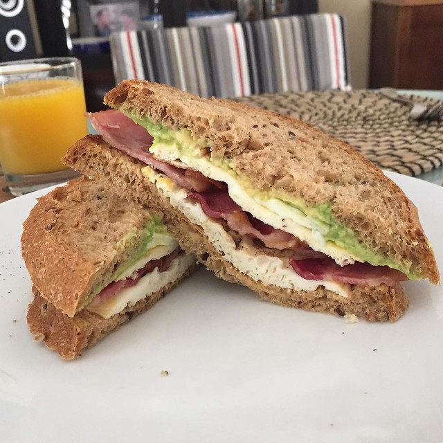 Epic post 10mile run brunch- bacon, egg & avocado sandwich on my dad's awesome bread.