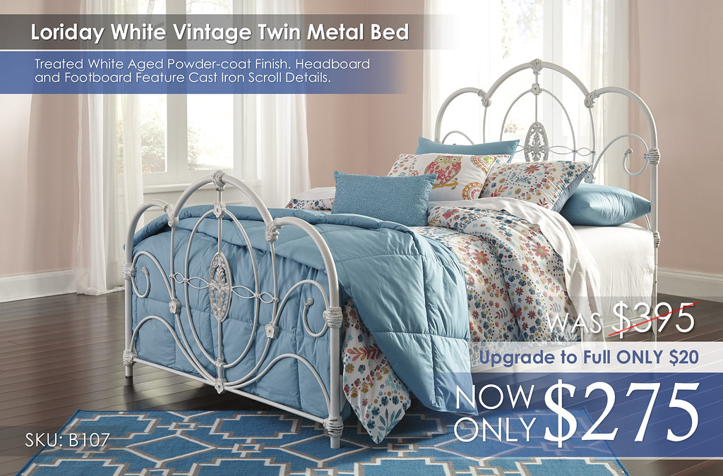 Loriday White Vintage Metal Twin Bed B107-72-Q228