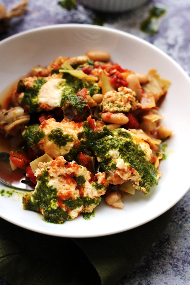 Tuscan Baked White Beans and Artichokes with Ricotta and Basil Oil