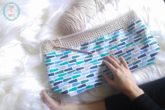 Crochet Fabric Fusion Tote • Fibreandfabrics Craft Blog #fibreandfabrics #crochet #sew