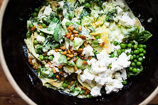 Squash Pasta with Yogurt, Peas and Chile | by continental drift