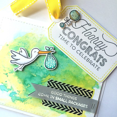 Baby shower card and tag