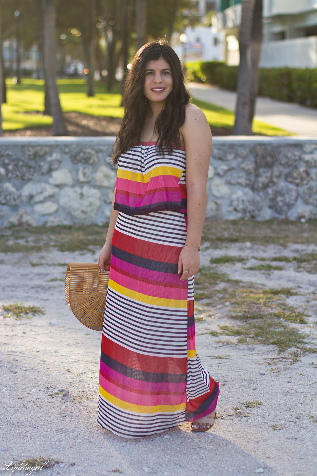pink striped maxi dress, bamboo half moon bag, beach outfit.jpg