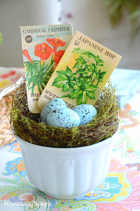Ironstone Bowl-bird's nest-Vintage Bird seed packets-Housepitality Designs