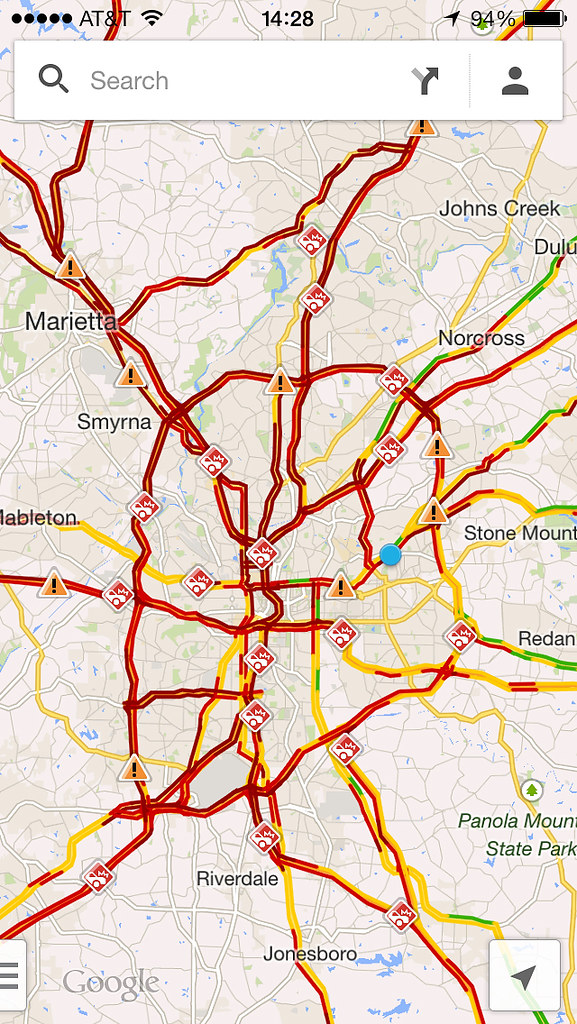 Atlanta Traffic, from Google Maps, snow storm, January 28,… | Flickr
