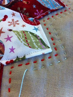 Hand Quilting the Dresden Plate Christmas Pillow | by CoraQuilts~Carla
