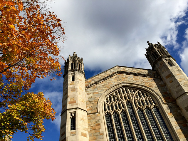 church, leaves, and sky