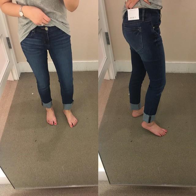 LOFT Modern Frayed Cuff Straight Leg Jeans in Classic Dark Indigo Wash, size 25/0P