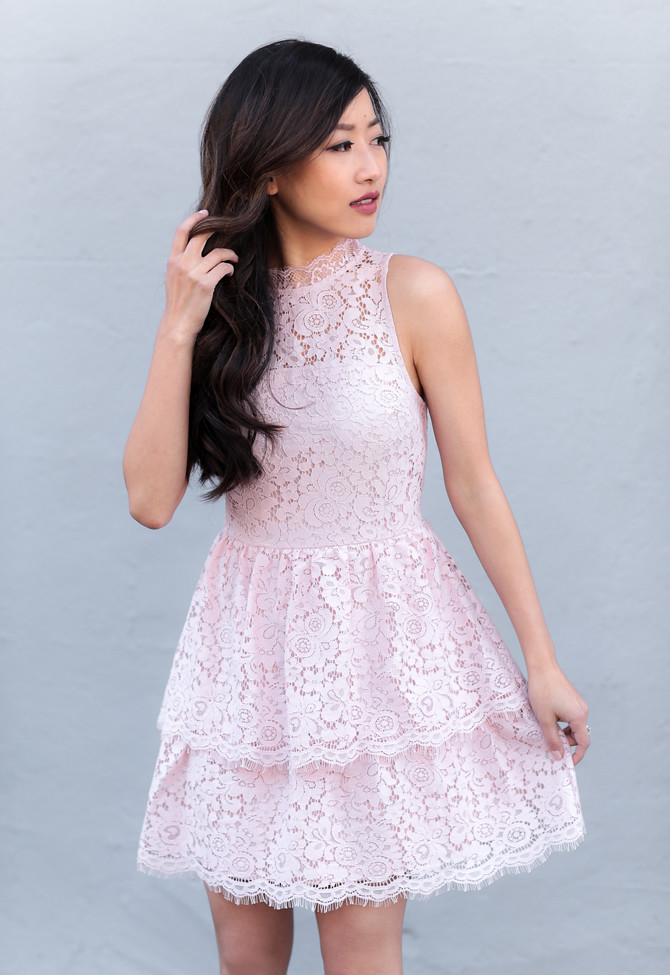 spring fashion pink lace cocktail dress petite style