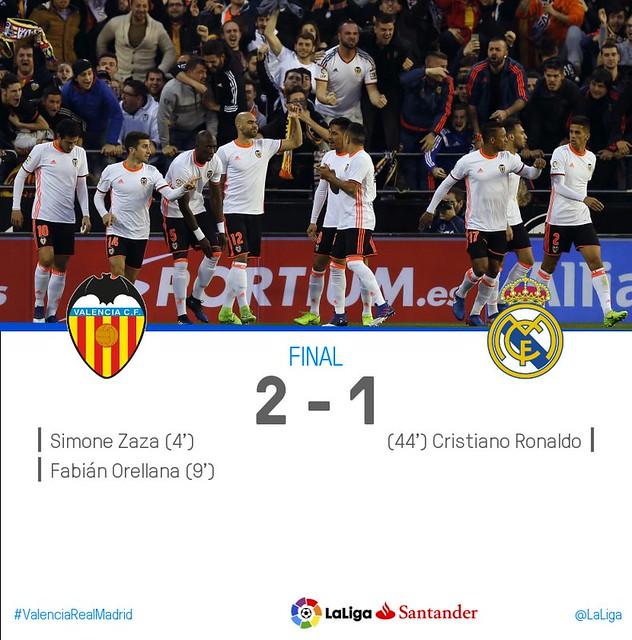 Liga Santander (Jornada 16): Valencia CF 2 - Real Madrid 1