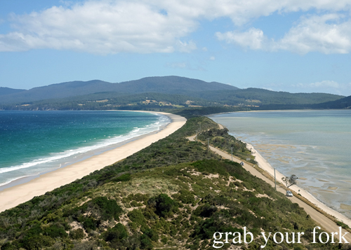 View of the isthmus from The Neck lookout on Bruny Island in Tasmania