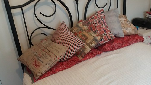 fun pillows with airmail and travel themes