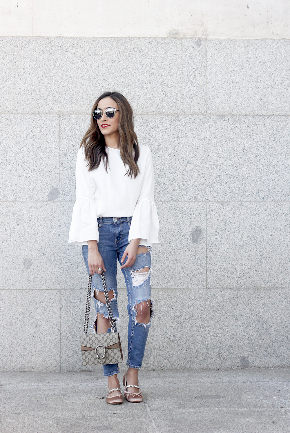 ripped keans gucci bag Jewel ballerinas uterqüe white blouse outfit style fashion10
