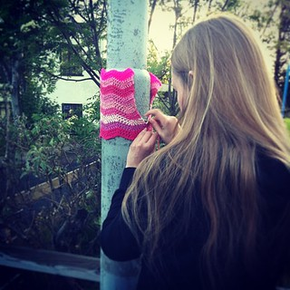 Happy Womens Rights Day! #málumbæinnbleikan #yarngraffiti #yarnstorming #yarnbombing #crochet #pink #girlpower for all the amazing women I know | by litlaskvis