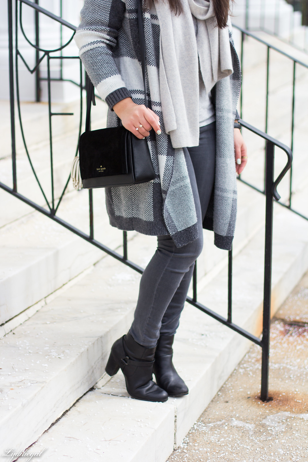 grey plaid cardigan, cashmere scarf, wool hat, grey jeans-6.jpg