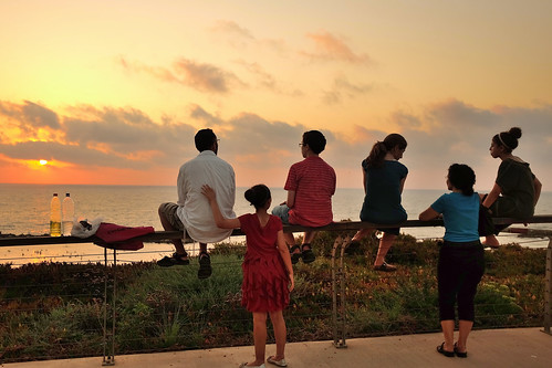 Friday evening, a family is watching the sunset | by amira_a