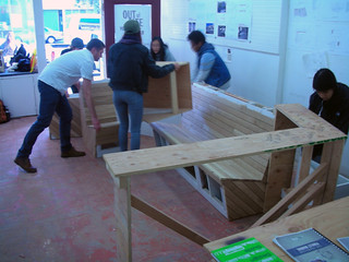 Students assembling bench, planter, and countertops. Ocean Ave Portable Parklet by Youth Art Exchange. Photo by Robin Abad Ocubillo | by sfplanning
