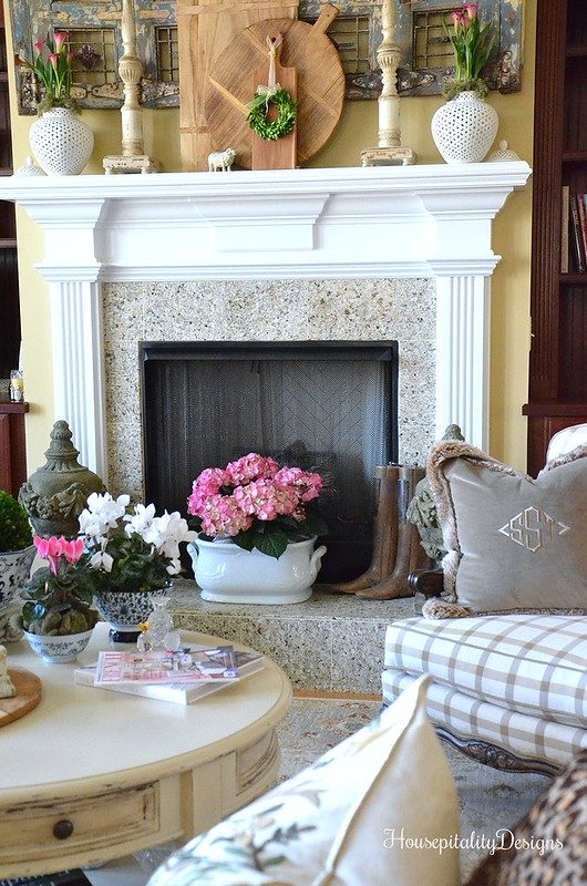 Mantel-Great Room-Antique Shutters-Breadboard-Housepitality Designs