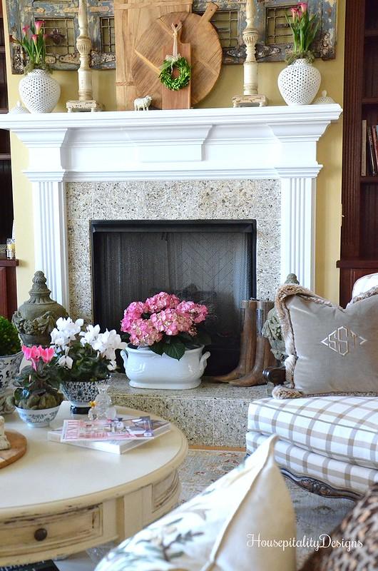 Mantel-Great Room-Antique Shutters-Breadboard-Housepitality Designs