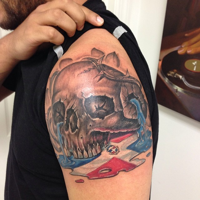 skull tattoo leaking the dominican flag freehand bl flickr rh flickr com dominican flag tattoo ideas statue of liberty dominican flag tattoo