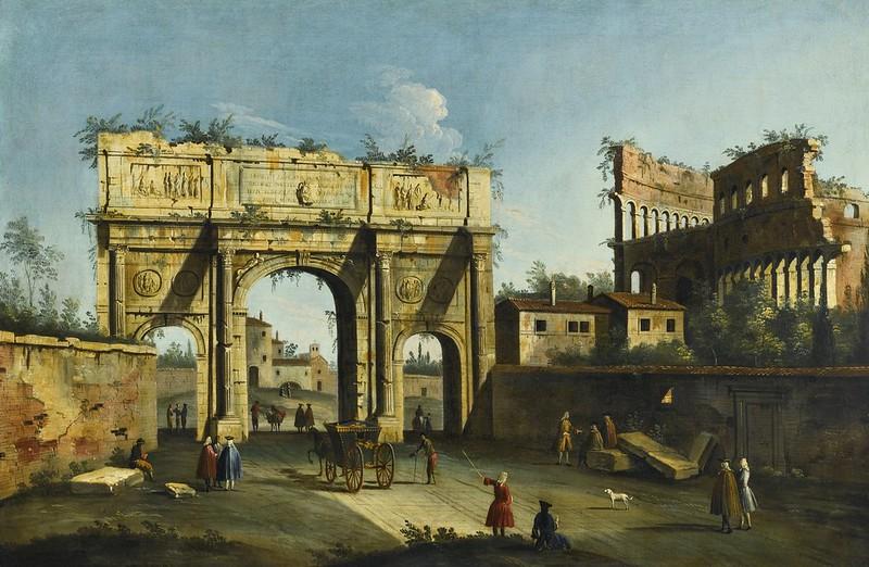 Apollonio Facchinetti - Rome, a View of the Arch of Constantine and the Colosseum (1741)
