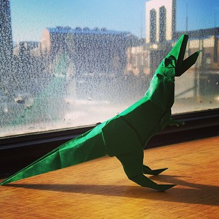 Check out the awesome #origami #dinosaur Brian made me!! ❤ | by kara brugman