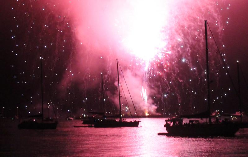 boat fairy lights fireworks
