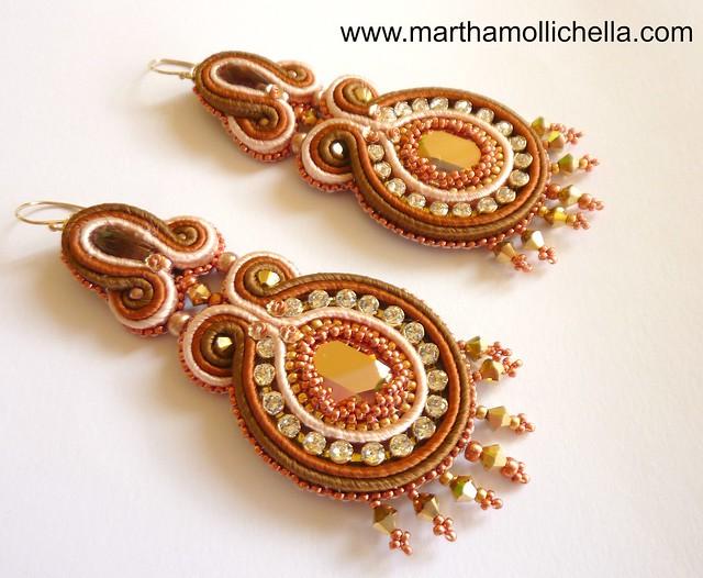Swarovski Soutache Earrings handmade in Italy by Martha Mollichella